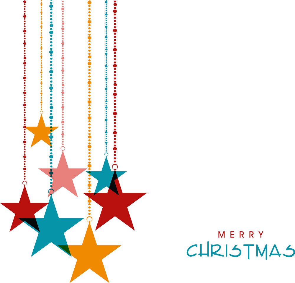 Beautiful hanging stars for Merry Christmas celebration on beige background