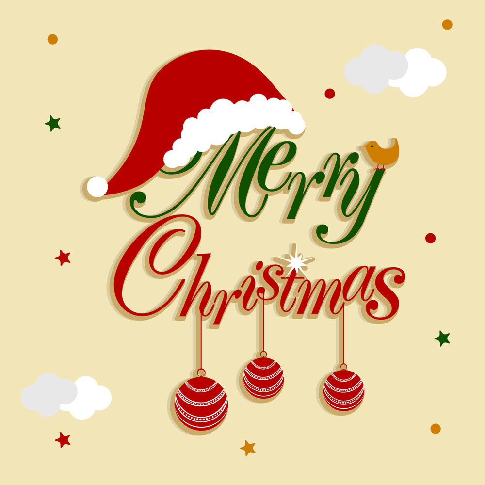 Merry Christmas celebration with hanging Xmas ball by stylish text