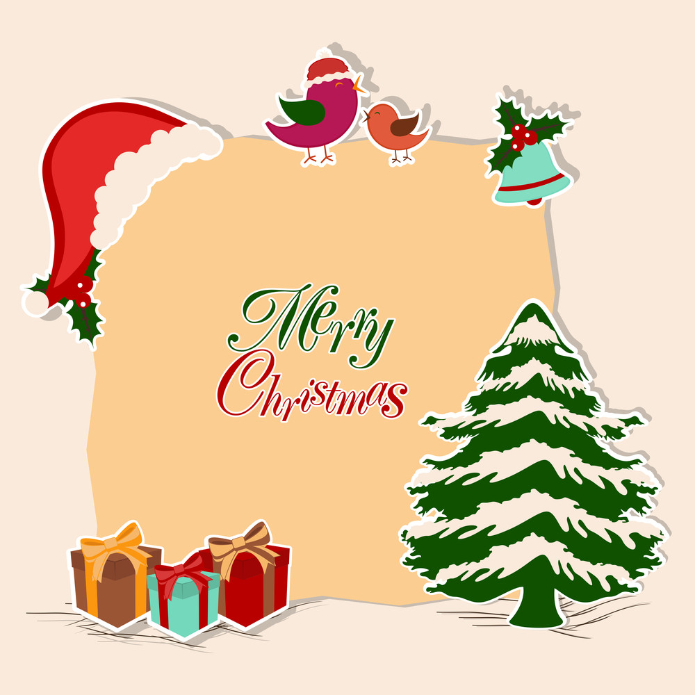 Merry Christmas celebration concept with stylish text on a frame decorated by x-mas tree