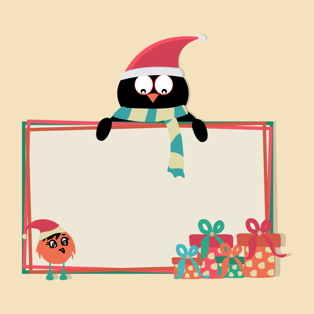 Cartoon of a penguin in Santa cap with blank board for your text
