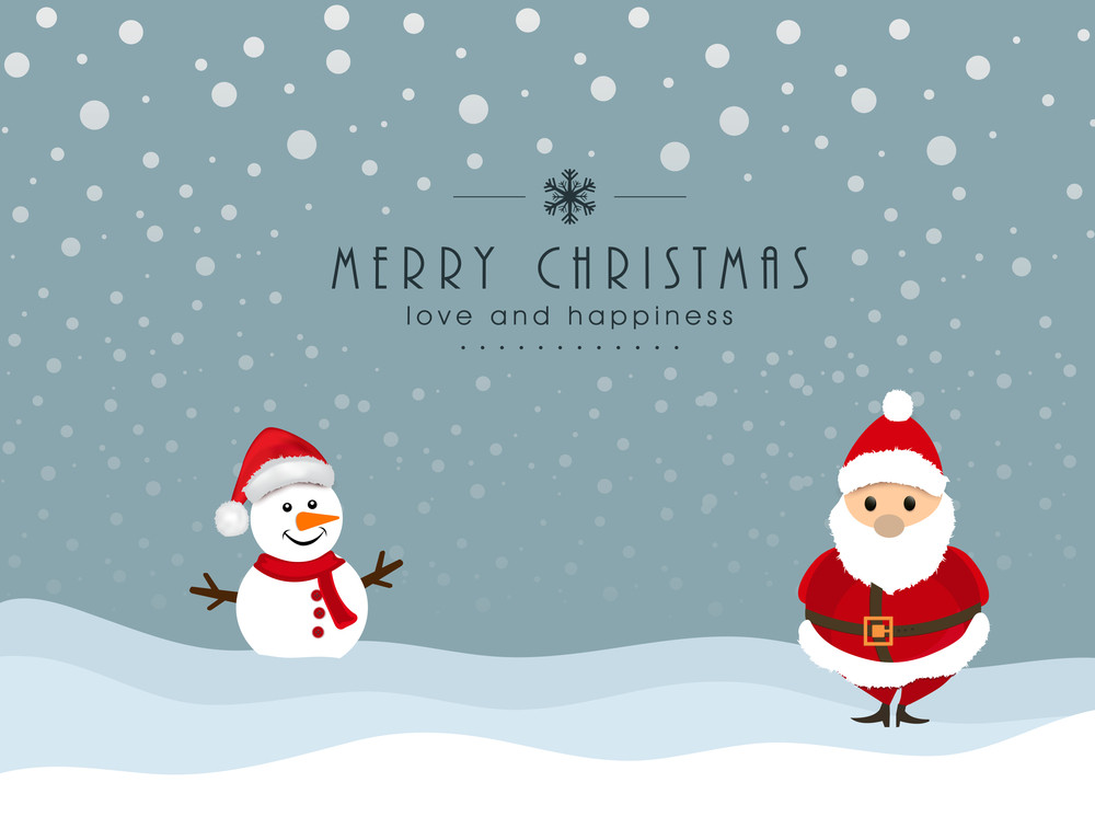 Cute cartoon of snowman in Santa hat and Santa Claus on winter background for Merry Christmas celebration with massgae.