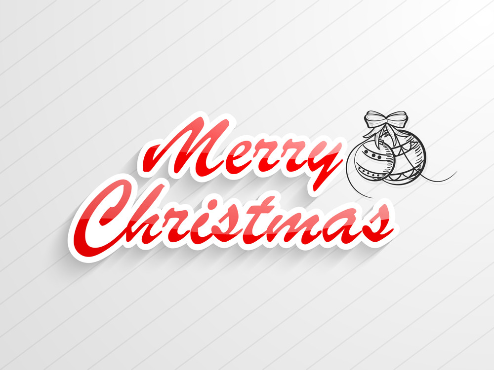 Merry Christmas celebration with stylish text and Xmas ball with bow on stylish background.