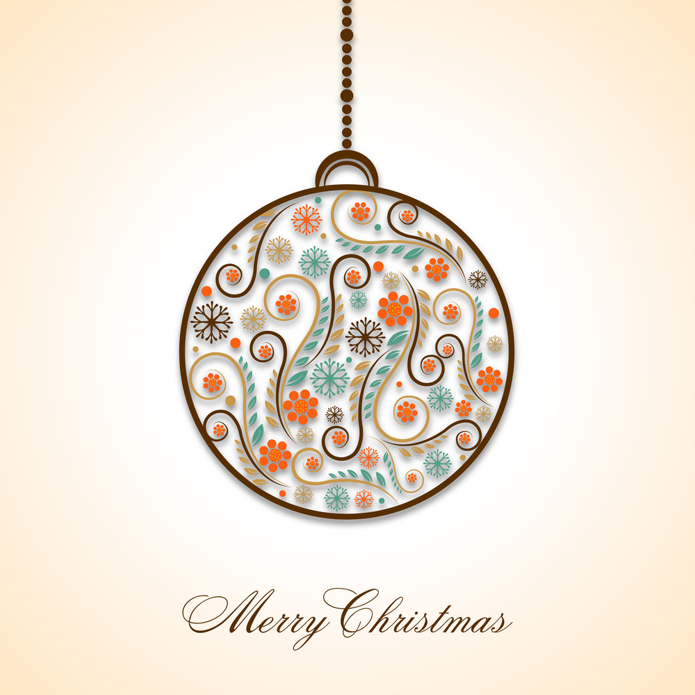 Hanging floral decorated  Xmas ball with wishing text on stylish background.