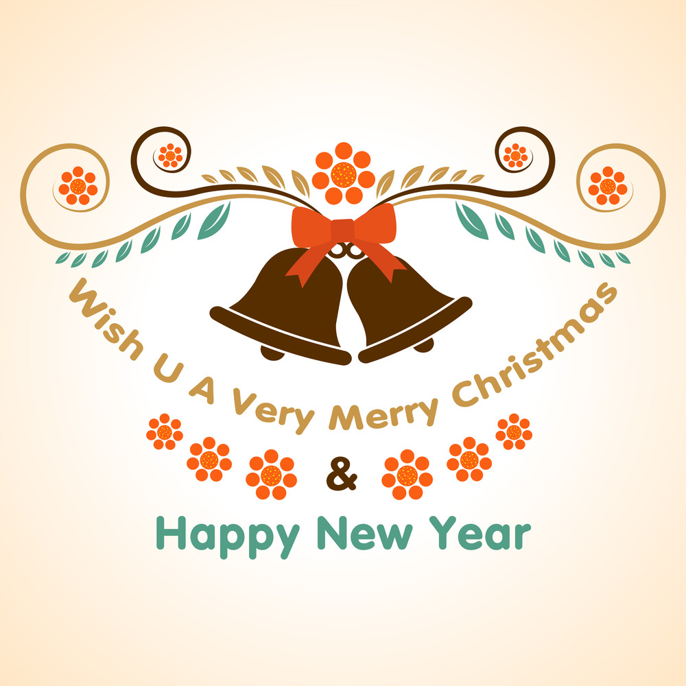 Poster for Merry Christmas or Happy New Year with jingle bells on stylish background.