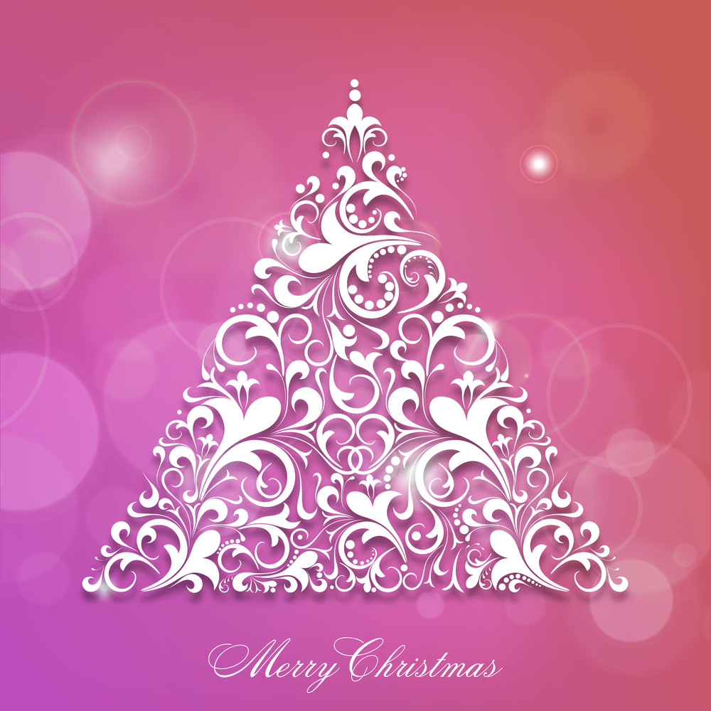Merry Christmas celebration with floral decorated Xmas tree on stylish background.