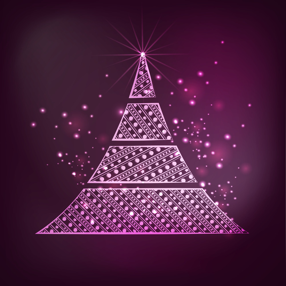 Merry Christmas celebration with beautiful floral decorated Xmas Tree on shiny purple background.