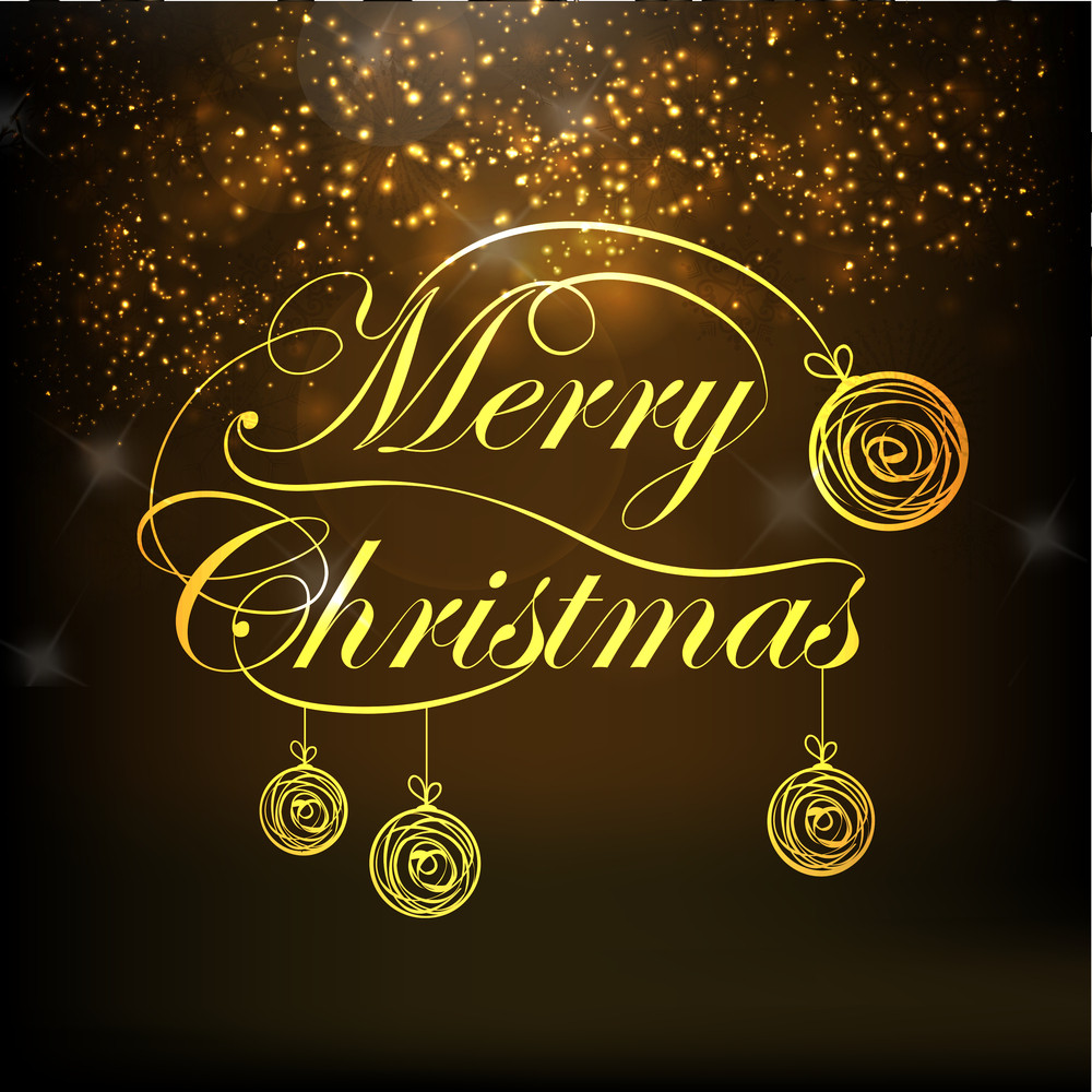 Beautiful greeting card design for Merry Christmas celebrations decorated with X-mas balls on shiny brown background.