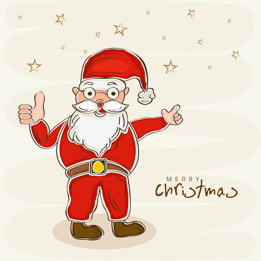 Happy Santa Claus in red clothes showing thumbs up for Merry Christmas celebrations on stars decorated background.