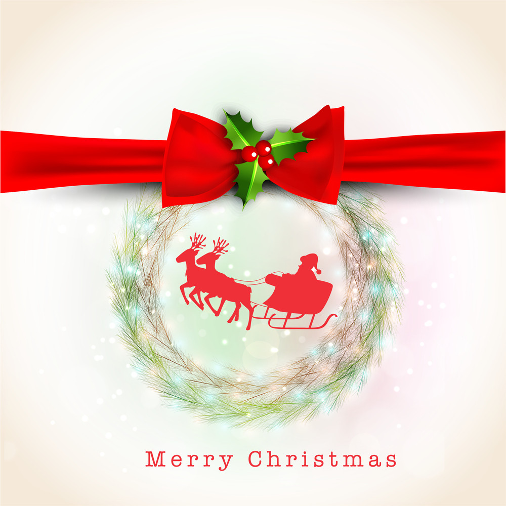 Merry Christmas celebration greeting or invitation card with ribbon