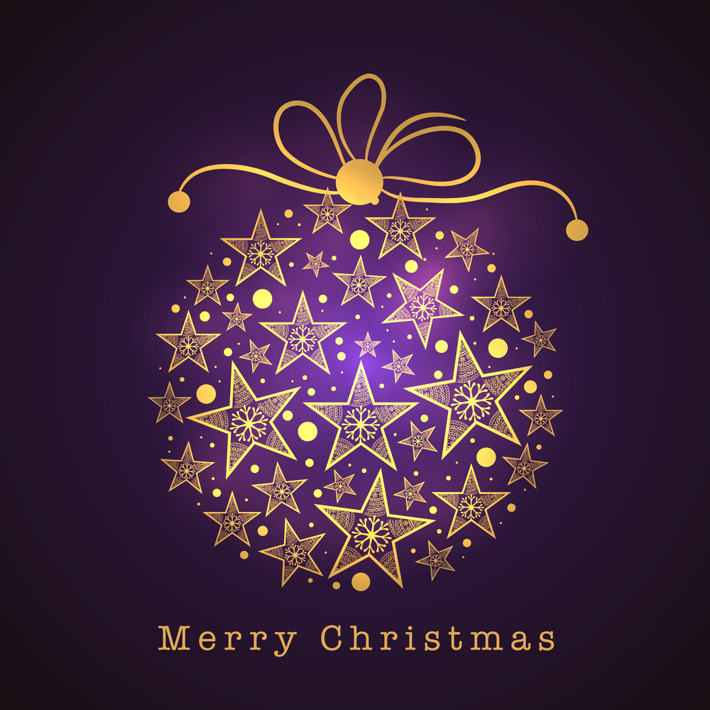 Merry Christmas celebration greeting card design with shiny Xmas Ball decorated by star and snowflake on dark purple background.