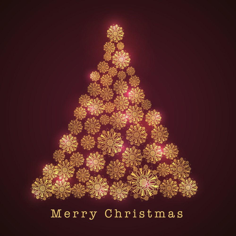 Merry Christmas celebration with beautiful shiny Xmas Tree decorated by snowflake on shiny dark brown background.