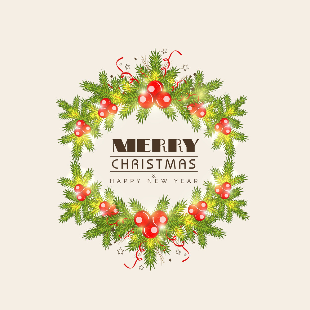 Merry Christmas and Happy New Year celebrations greeting card design with mistletoe and fir tree on beige background.