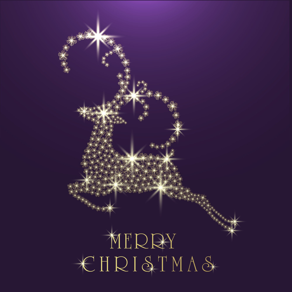 Merry Christmas celebration with beautiful reindeer made by creative shiny flowers on purple background.
