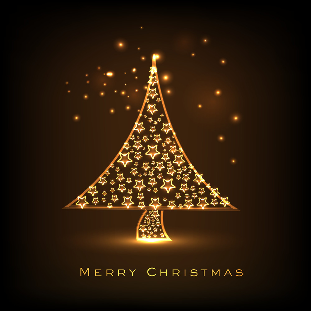 Merry Chrismtas celebration greeting card design with shiny golden Xmas Tree decorated by stars on brown background.