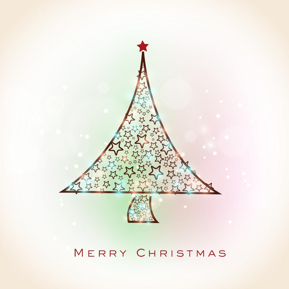Shiny beautiful Xmas Tree decorated by stars for Merry Christmas celebration on colorful shiny background.