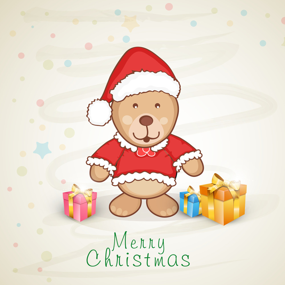 Cute teddy bear in Santa dress with gift boxes for Merry Christmas celebration.