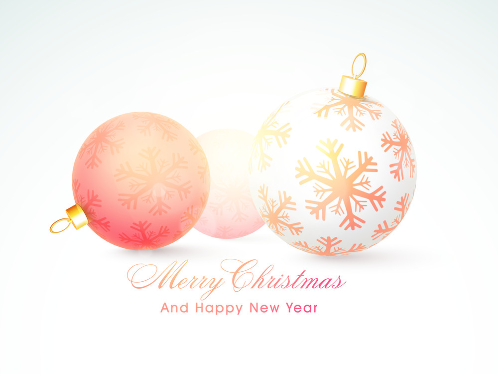 Beautiful snowflakes decorated X-mas Balls for Merry Christmas and Happy New Year celebrations.