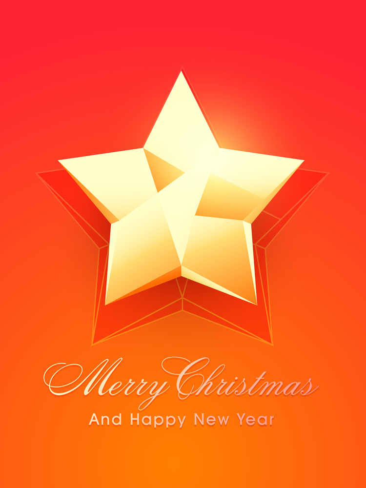 Merry Christmas and Happy New Year celebrations with shiny star on orange background.