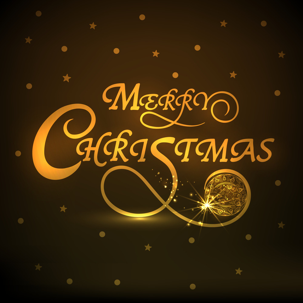 Merry Christmas celebrations with shiny text and floral design decorated X-mas Ball on stars decorated brown background.