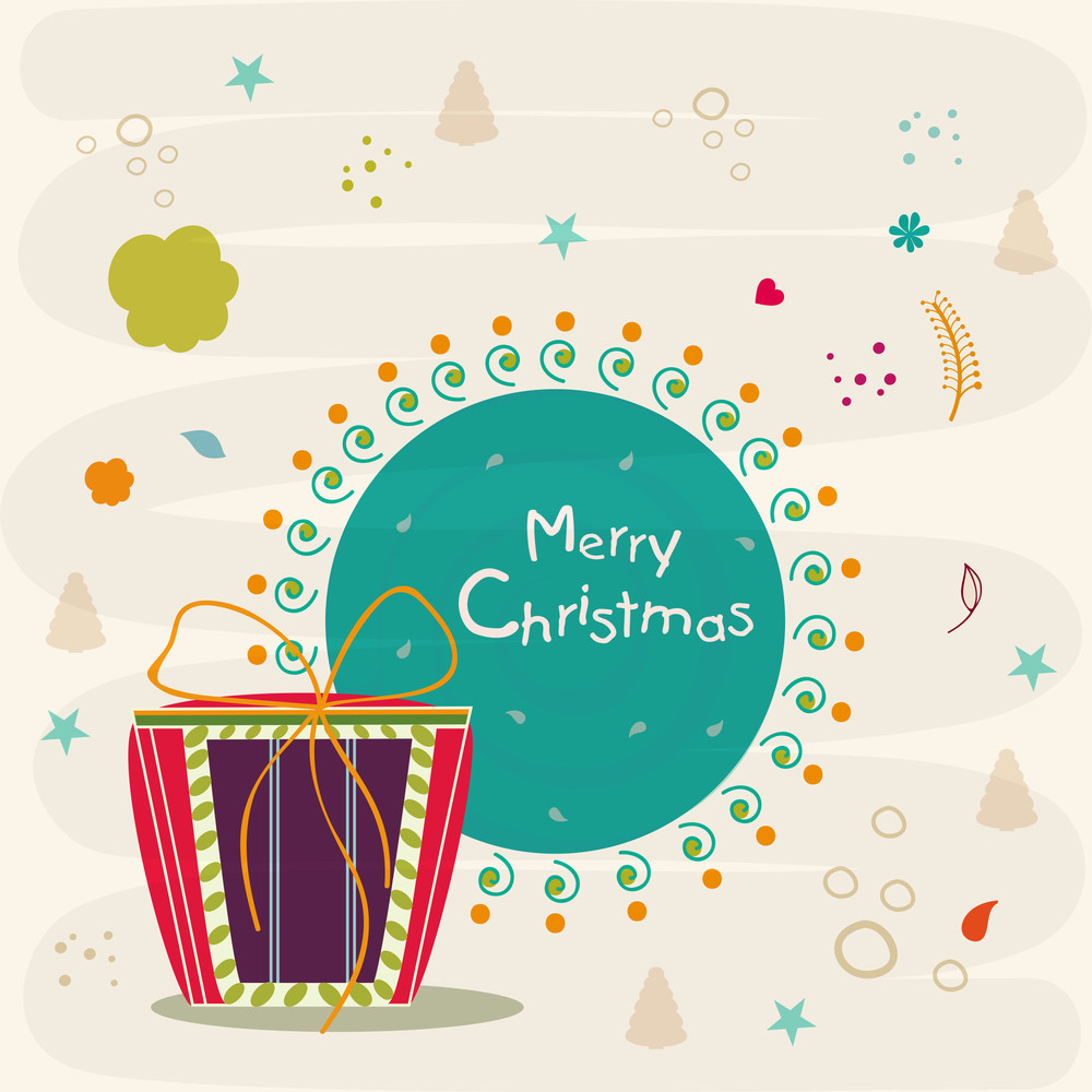 Merry Christmas celebrations with colorful gift box and stylish text in frame on X-mas objects decorated beige background.