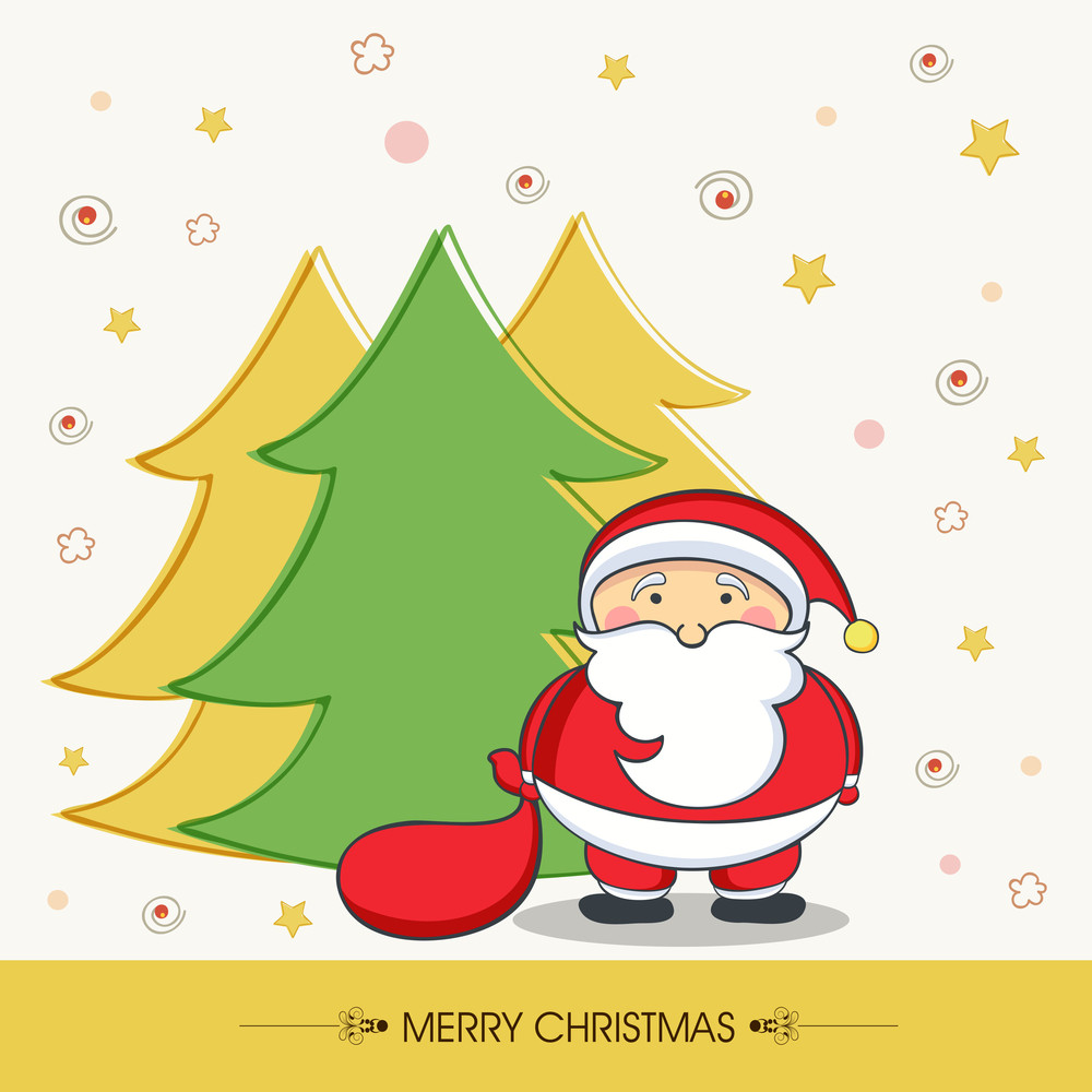 Cute Santa Claus holding gift sack with colorful X-mas Tree on stars decorated background for Merry Christmas celebrations.