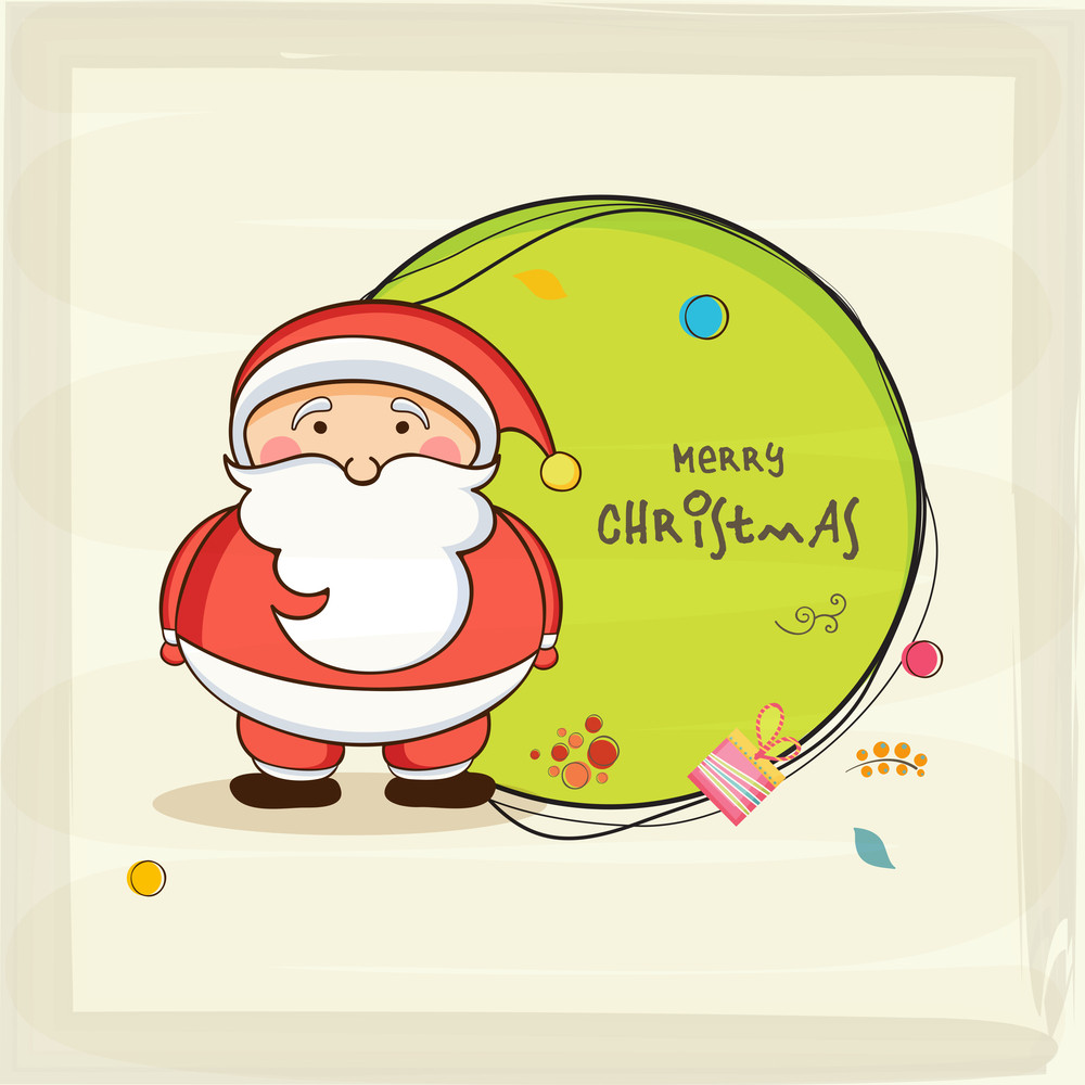 Merry Christmas celebrations with cute Santa Claus and wishing text in rounded frame on stylish background.