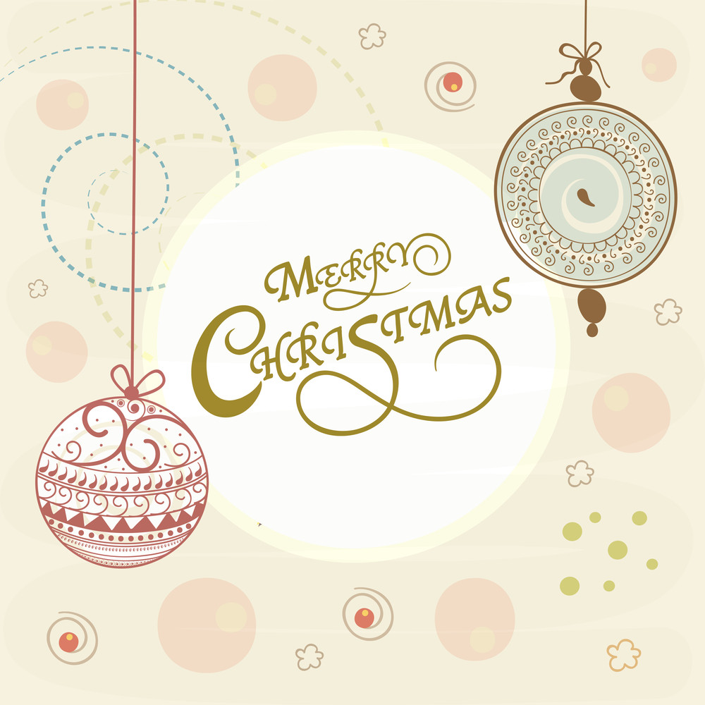 Merry Christmas celebrations greeting card design with floral decorated X-mas balls hanging on stylish background.