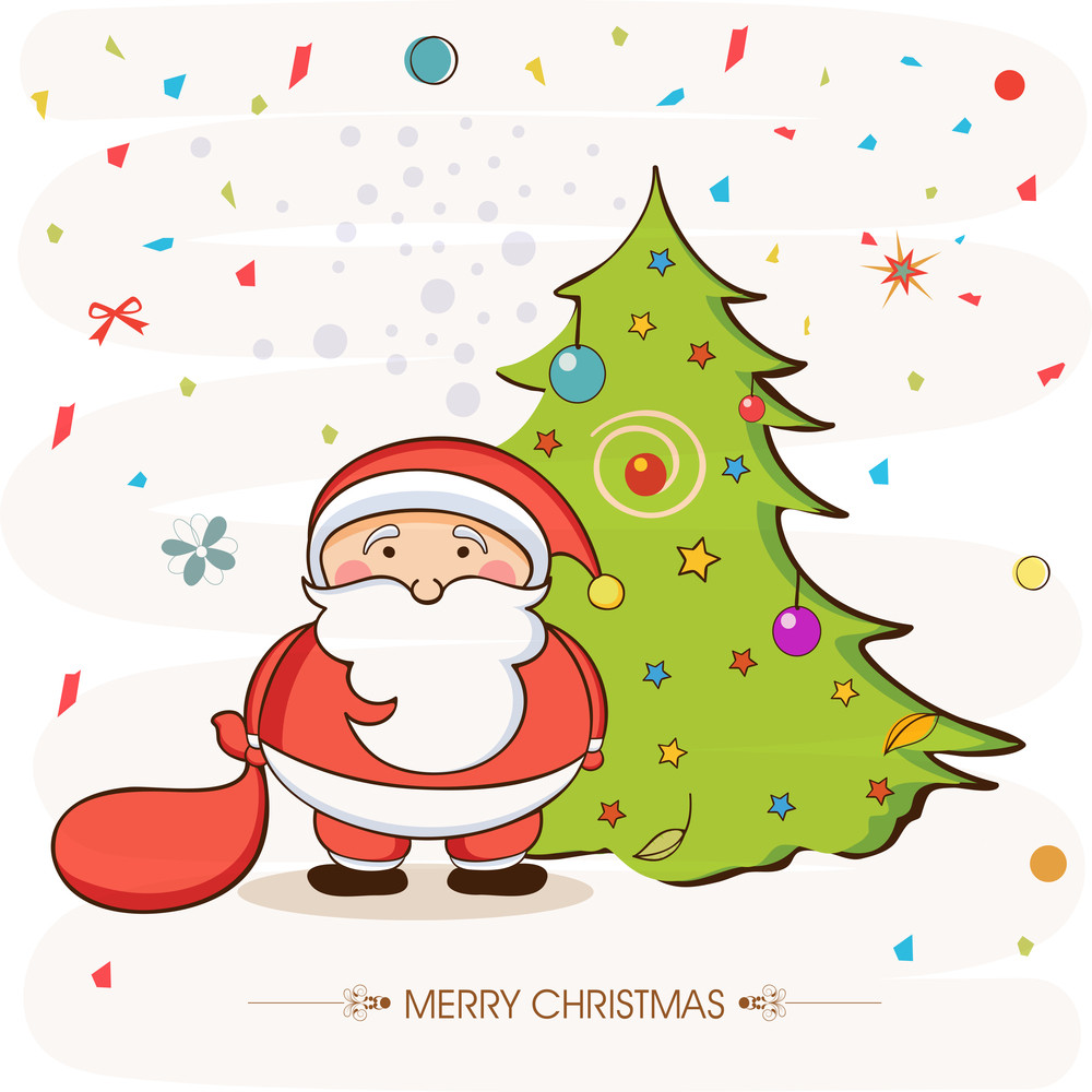 Cute Santa Claus with colorful stars and balls decorated X-mas Tree on stylish background for Merry Christmas celebrations.