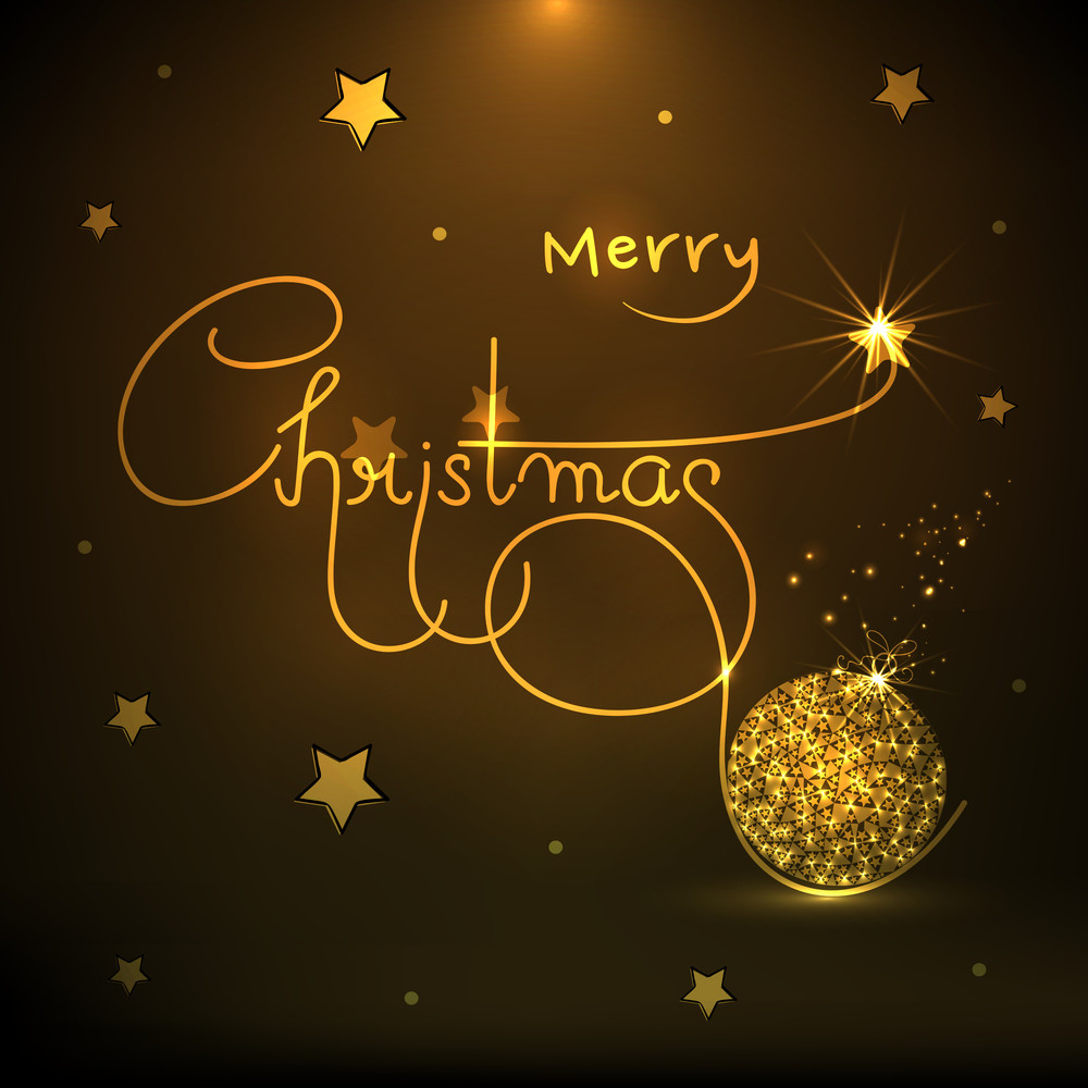 Merry Christmas celebrations poster or banner design with shiny golden text and X-mas Ball on stars decorated brown background.