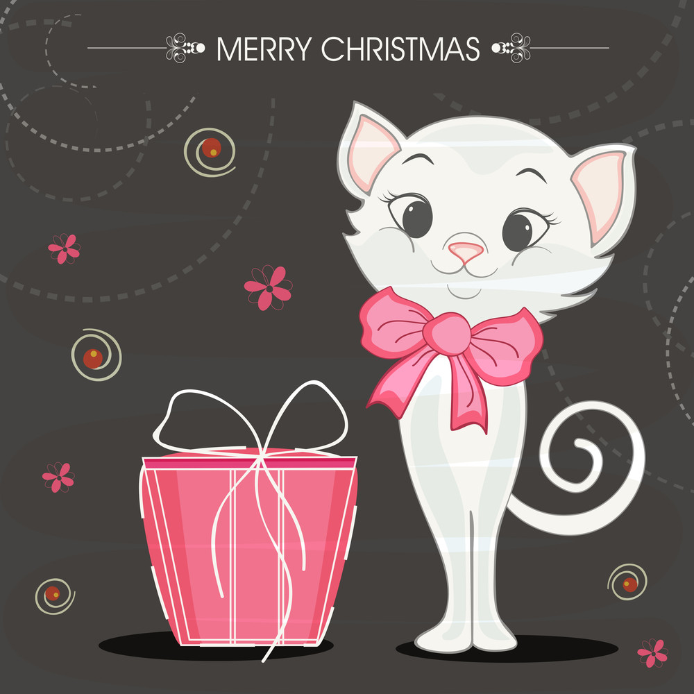 Merry Christmas celebrations with cute cat in bow and pink gift box on stylish background.