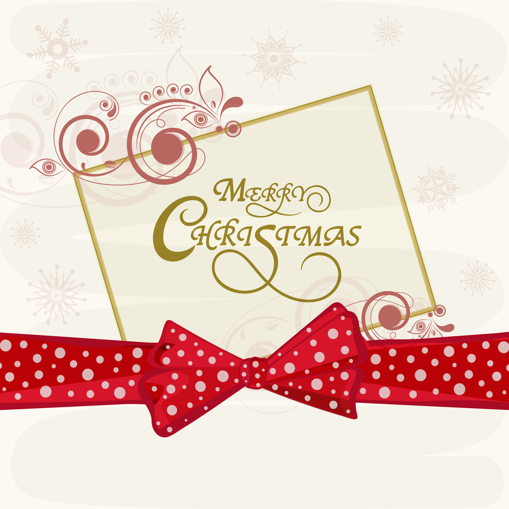 Merry Christmas celebrations greeting card design with stylish text in floral decorated frame and red ribbon on snowflakes decorated background.