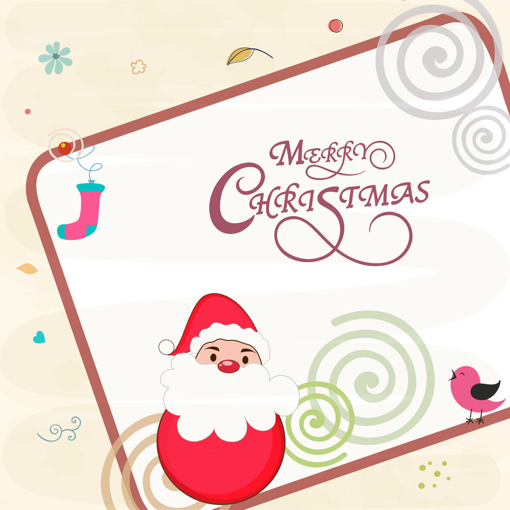 Creative greeting card design decorated with cute Santa Claus