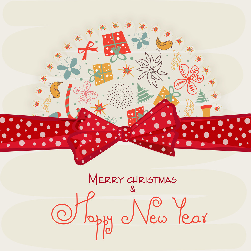 Beautiful greeting card design decorated with X-mas ornaments and red ribbon for Merry Christmas and Happy New Year celebrations.