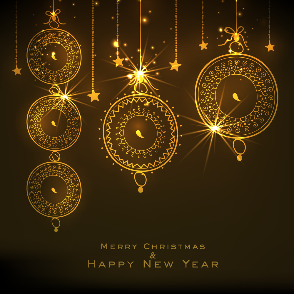 Merry Christmas and Happy New Year celebrations with floral design decorated golden X-mas Balls and stars hanging on brown background.