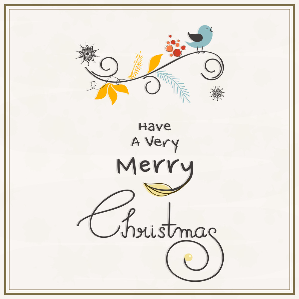 Merry Christmas Celebrations Greeting Card Design With Singing Love