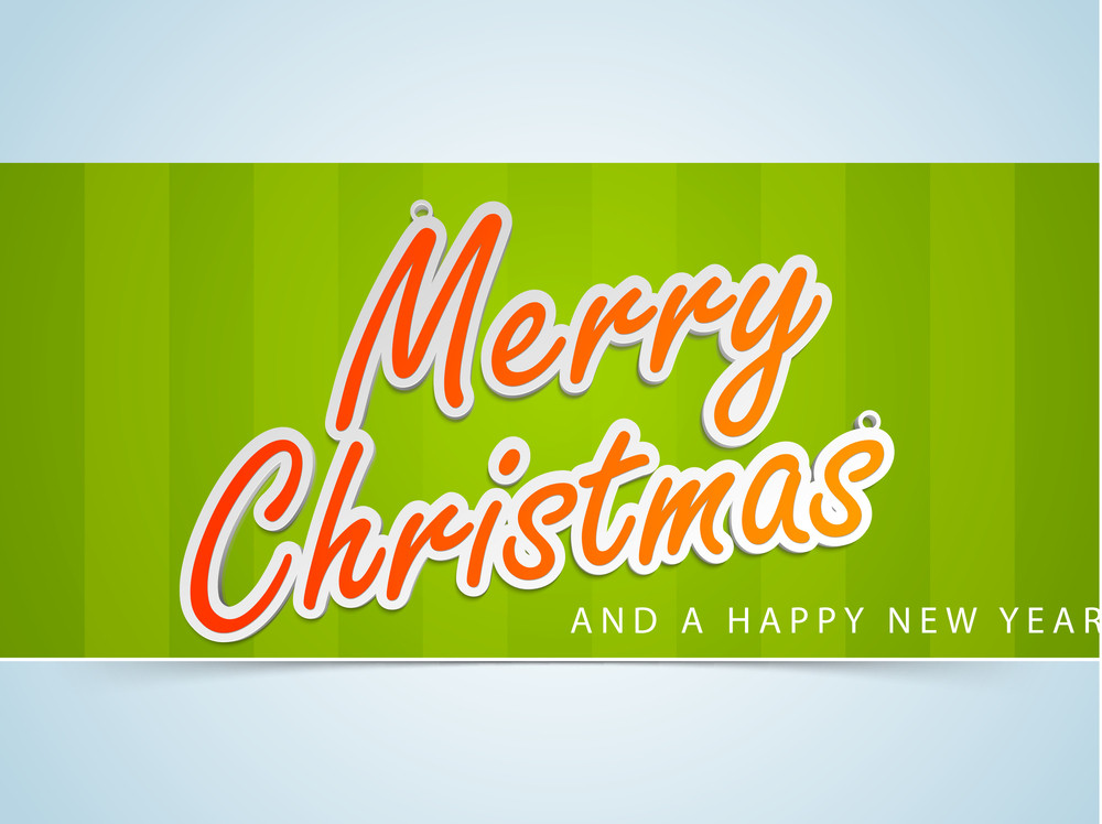 Greeting card design for Merry Christmas celebrations with stylish text on green and blue background.