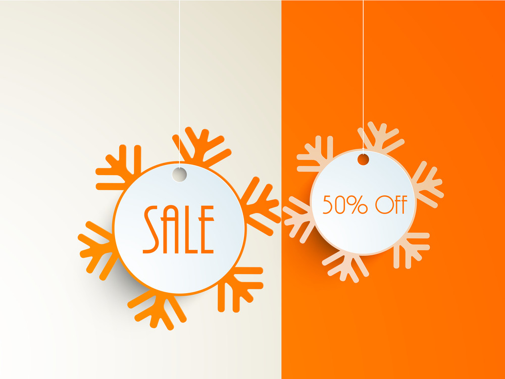 Merry Christmas celebrations concept with beautiful snowflakes sale stickers.