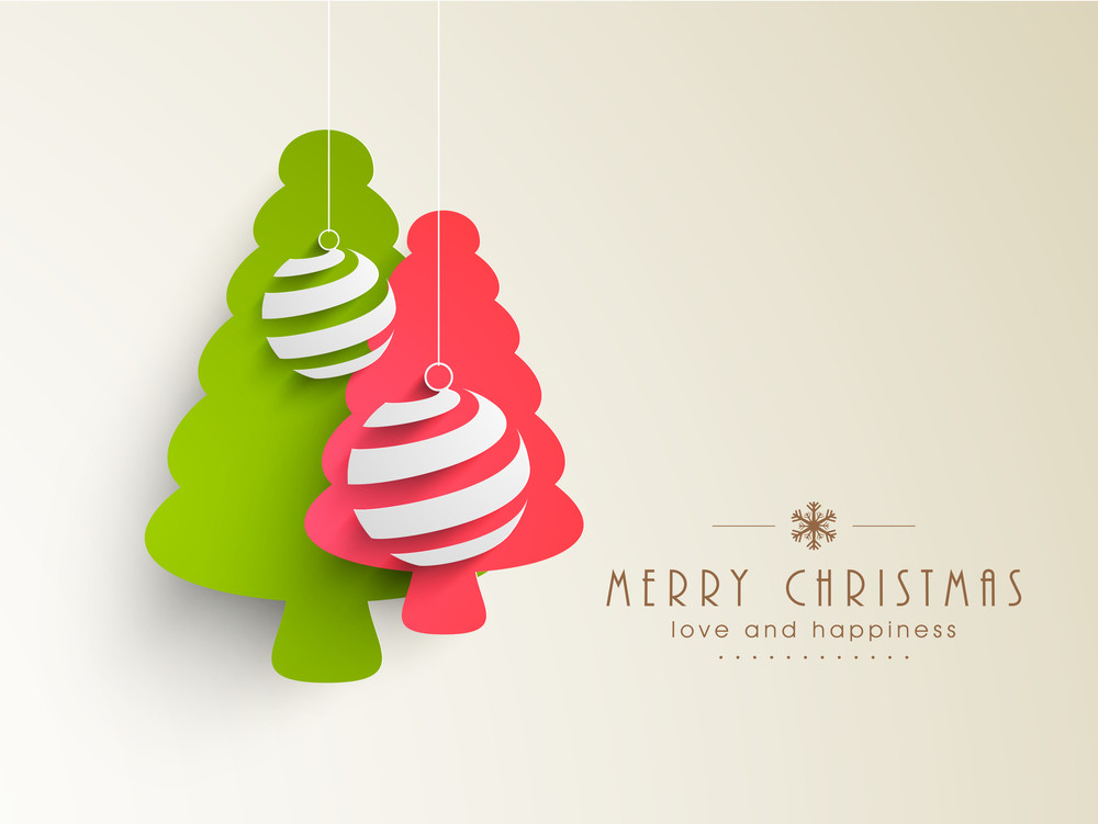 Beautiful Merry Christmas and Happy New Year celebrations greeting card design with green and pink trees and balls.