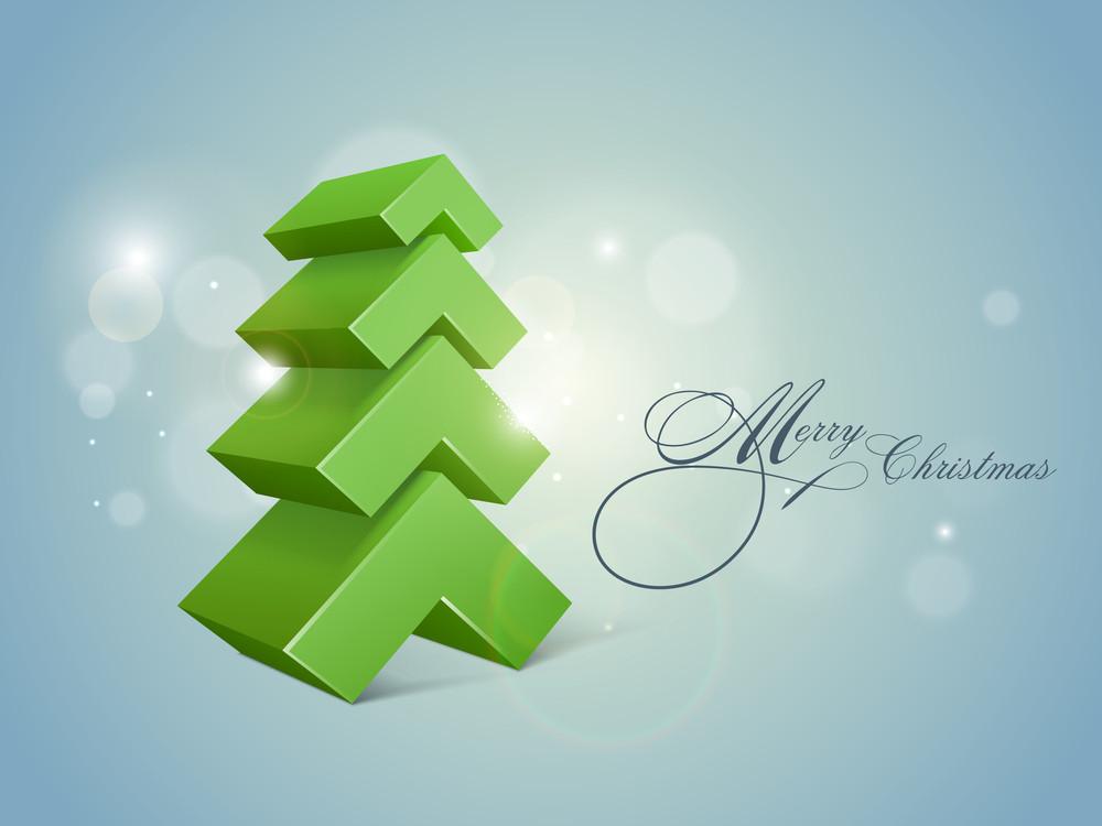Stylish 3D Xmas tree for Merry Christmas celebrations on shiny blue background.