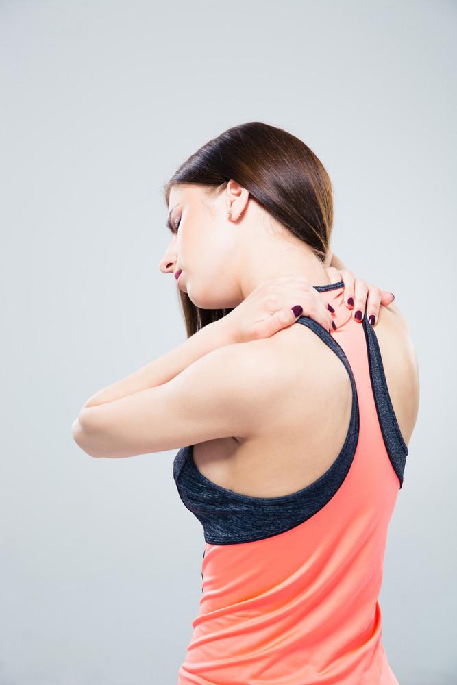Sporty Woman Having Back Pain Royalty Free Stock Image Storyblocks