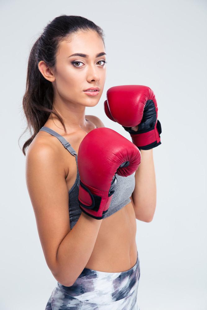 Portrait of a beautiful female boxer