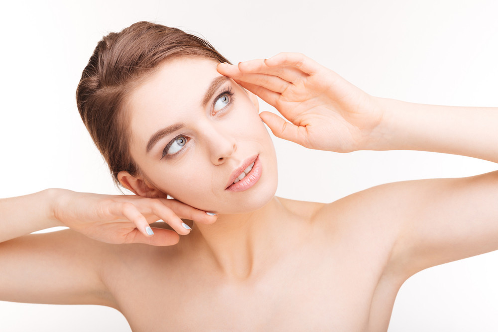 Young woman with skin care