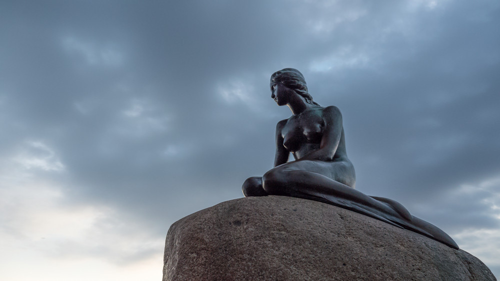 Low angle view of little mermaid statue in denmark
