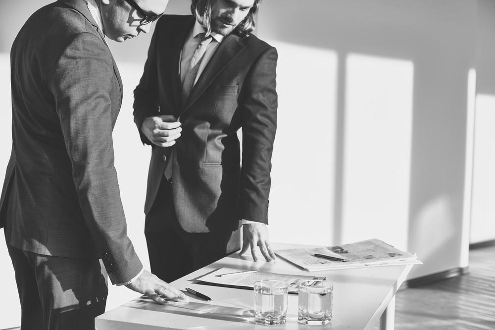 Two Elegant Businessmen Working In Office