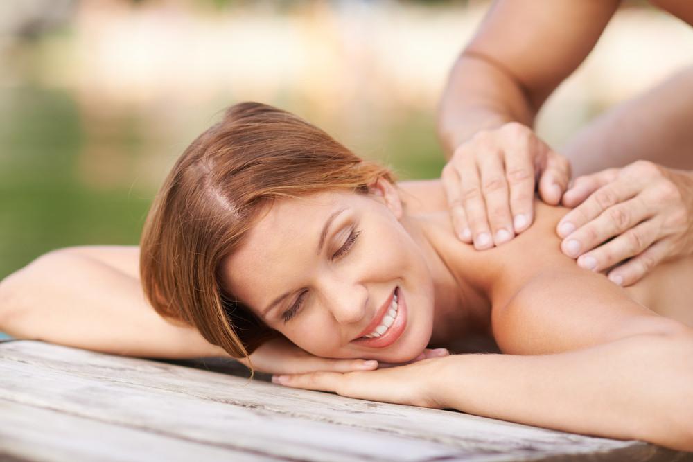 Woman Enjoying Massage Outdoors