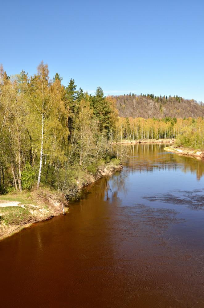 Autumn Sigulda River Landscape With Reflection