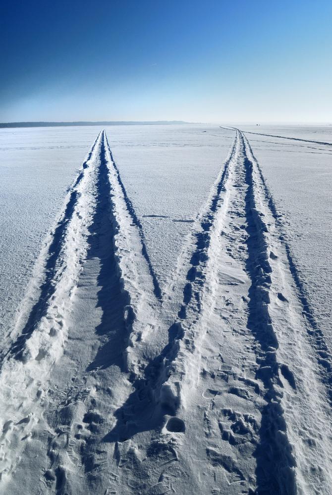 A Road On A Frozen Lake