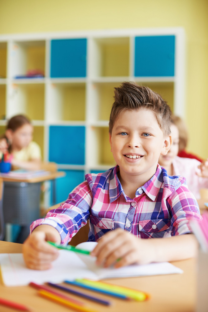 Portrait Of A Cute Schoolboy Looking At Camera At Lesson
