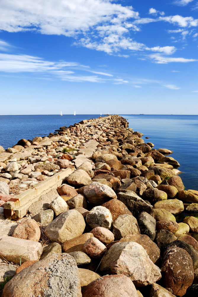 Baltic Sea Shore Near The Port Of Riga