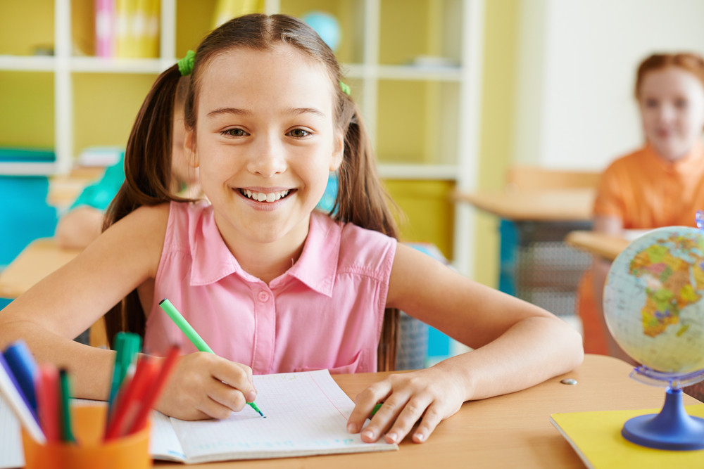 Pretty Schoolgirl Looking At Camera At Lesson Of Drawing